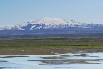 Hekla depuis Fossá au bord du Þjórsá