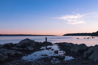 Coucher de soleil sur la plage Jacques Cartier à Québec