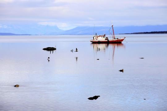 Bateau de pêche à Puerto Natales